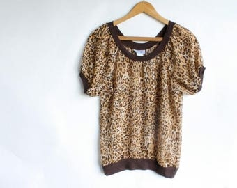 Sale Vintage Leopard Print Blouse / 1970s Animal Print Blouse / Vtg 70s Sheer Disco Blouse / Exotic Print Blouse / Retro India Blouse S/M