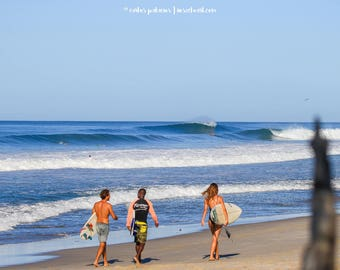 three surfers walking at the beach, empty waves, summer, surfers paradise, beach walking, costa rica, beach art, waves, surfboards, surfer