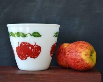 Vintage Apple Motif Mixing Bowl   Milk Glass Bowl   Hazel Atlas Batter Bowl   Farmhouse Kitchen