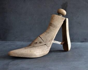 Antique Wooden Shoe Stretcher | Adjustable Shoe Form | Cobblers Tools | Folk Art | Rustic | Vintage Rustic Decor | Photography Prop