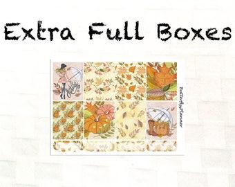 Extra Full Box Stickers for the Erin Condren & Happy Planner, Hello Autumn, Autumn Stickers, Decorative Boxes