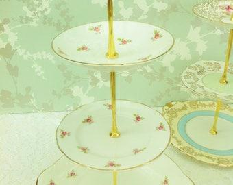 Pink Rosebud  3 Tier Cake Stand