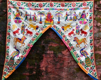 Indian home decor toran vintage boho gypsy curtain Ganesh yoga room temple decoration wall hanging window valance ethnic hand embroidery