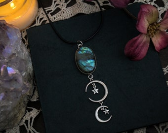 Nyx • Ethereal labradorite stone in sterling silver setting statement necklace with celestial moon & star charms