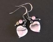 RESERVED - Pink and Black Rhodochrosite Gemstone Heart Earrings
