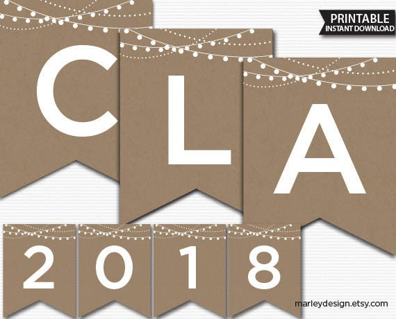 Graduation Banner Rustic Printable Class Of 2018 Kraft