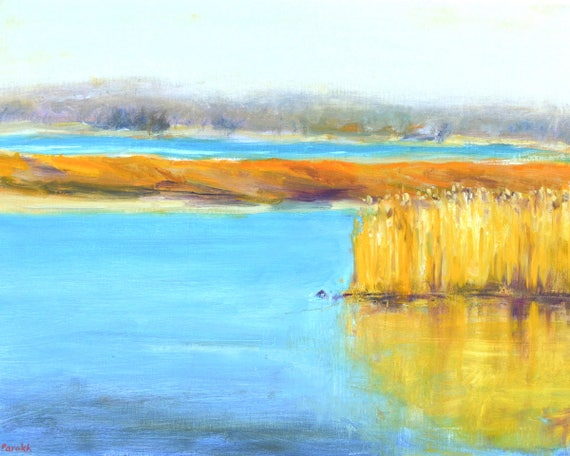 "Marsh reflections, Original oil painting, Large landscape, Plum island marshes, New England, 16"" X 20"", Horizontal, Bright blue, mustard"