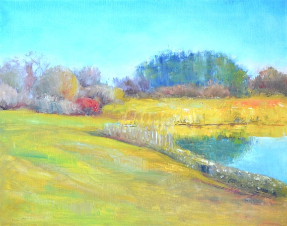 "New England original oil painting, Large landscape, Plum island marshes,  16"" X 20"", Horizontal, reflections, peaceful scene"