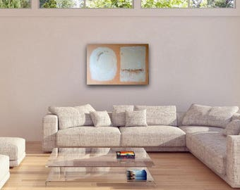 Original Large Fine Art Abstract Landscape Acrylic Painting Wall Art 24 x 36 inches Canvas in Peach & Cream Home Decor