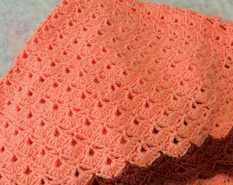 Hand Crochet Lapghan, Crochet Baby Blanket, Adult Lap Robe, Wheelchair lapghan, Small blanket, Coral and Rose, Birthday Gift, Baby Shower