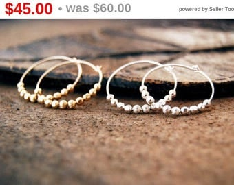 CIJ SALE** ricochet... gold or silver ball hoop earrings / 14k gold filled or sterling silver ball hoop earrings / mixed metal