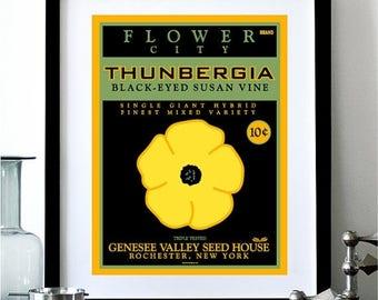 ON SALE Flower City Rochester New York Thunbergia Black-Eyed Susan Vine Digital Print - 11x14