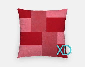 Leather Pattern Pillow, Patch Pillow Cover, Abstract Pillow Case, Pink Pillow, Artistic Design, Home Decor, Decorative Pillow Case, Sham