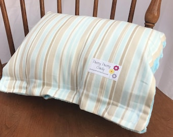 Pastel Blue Brown Striped Baby Nursing Arm Pillow Sleeve