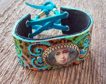 Gypsy Bracelet, Wrap Bracelet, Leather Bracelet, Hand Painted Bracelet, Cuff Bracelet, Boho Bracelet, Bohemian Jewelry