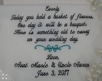 Personalized Wedding Handkerchief for the Father of the Bride. Free Gift Box...................Heart  Design
