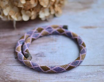 Bead Crochet Necklace Summer Colors Beaded Crochet Rope Trendy Seed Bead Neckpiece Bohemian Necklace Love Lavender