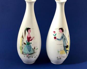Pair of Lovers Vases by Raymond Peynet for Rosenthal Germany Mid-Century Modern