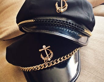 Military Navy Sailor Captain Hat with Super Cute Tuck Customization - Black