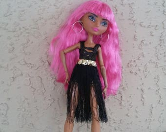 Ever After Black Fringe Skirt with Belt, Goth Doll Outfit for Monster Bratz Barbie Dolls