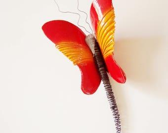 Red orange butterfly, ceramic butterfly, wall butterfly sculpture, large butterfly sculpture, clay and wire butterfly art object