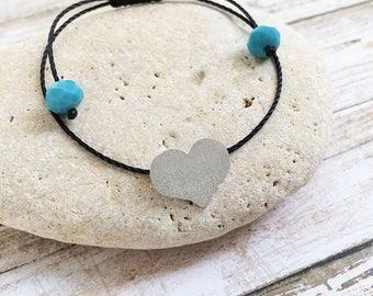 Silver heart bracelet - adjustable heart bracelet - simple heart bracelet - minimalist heart bracelet - bracelet fits wrist