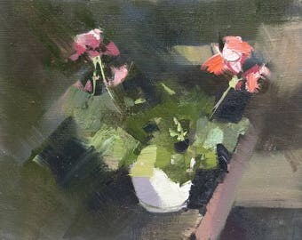 Small Flower Painting, Modern Floral Painting, Still Life Art, Oil Painting Pink Original Art