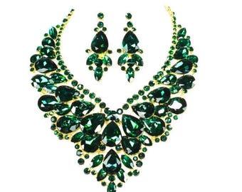 SALE SALE Emerald Crystal Necklace, Bridal Statement Necklace, Emerald Wedding Necklace, Emerald Crystal Evening Necklace ~ EC 40