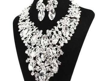 SALE SALE Bridal Statement Necklace, Crystal Bridal Necklace Set, Crystal Wedding Necklace Set, Evening Necklace Set ~ E 141