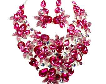 SALE Fuchsia Bridal Statement Necklace,  Fuchsia Bridal Necklace Set, Fuchsia Wedding Necklace, Evening Necklace  EC 14