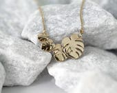 Four Dainty Leaves Necklace- 14k Yellow Gold