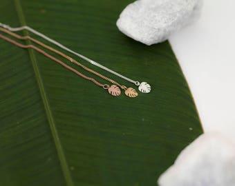 Hawaiian Leaf Earring Threader- 14k Rose Gold