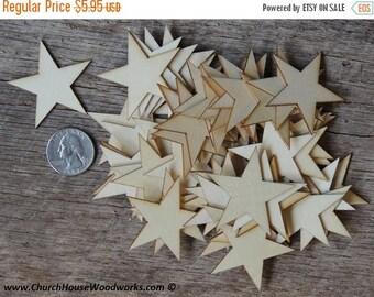 Summer SALE 50 Small 1-3/4 inch Mini Wood Stars, Wood Confetti Hearts- Rustic Wedding Decor- 1.75 Flag making stars- Wooden Stars-  DIY Craf