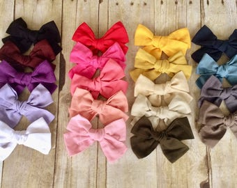 "U CHOOSE Big 5"" Hair bow baby girl Fabric hairbow headband toddler Pinwheel knot tied Large Bows"
