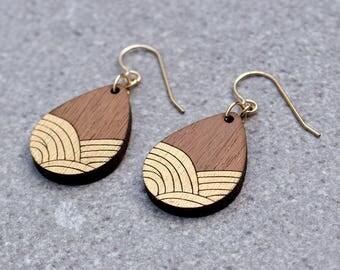 art deco jewelry, Wave Earrings, wave jewelry, Ocean Earrings, Ocean waves, gold Earrings, wood earrings, Ocean Jewelry, Gift for girlfriend