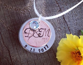 Wedding bouquet charm lucky penny personalized with initials and date hand stamped