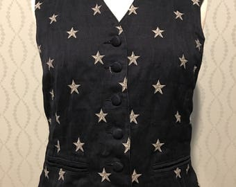 Navy Vest with Embroidered Stars by LizSport Patriotic 4th of July Independence Day