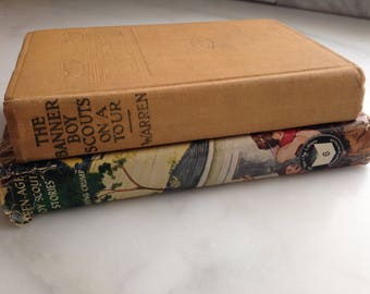 "Set of 2 Boy Scout Fiction Books - 1912 ed. ""Banner Boy Scouts"" and 1948 ed. Teenage Boy Scout Stories"