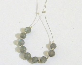 Summer Sale Labradorite Faceted Round Beads - 4 mm - 9 Beads Made by Earth Bazaar, Iridescent Shades of Green Blue on Gray