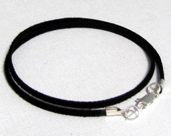 10 to 14  inch Black Suede Choker Cord, Pendant Cord, Charm Cord, Silver, Antique Brass, Gold Lobster, Faux Suede Cord, Unisex, Custom,