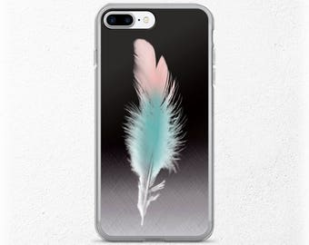 Feather iPhone Case, Boho iPhone 7, Pretty iPhone 7 Plus, Best Friend Gift, Girlfriend Gift Under 20, Soft Pastels