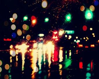 Rainy Night, Bokeh Rain Photo, Rainy Street Photo, Rain Print, Nature Photo, Rainy Night Photo, Rain Picture, Rain Photo, Nature Picture