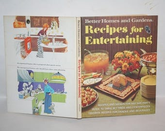 "Vintage Mid-Century 1972 ""Better Homes and Gardens Recipes for Entertaining""!  Hardcover!  Filled w/ Recipes + Color Photos!"