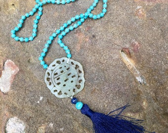 Carved jade pendant and turquise beads long necklace with tassel- chinoiserie- Feng Shui jewelry - meaningful gift