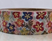 "SALE New Foil Inlay Washi Tape Floral ""Almost Tropical""  with Golden Accents Washi Tape 15mm x 10 meters"