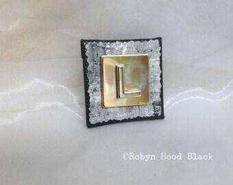 Letter L Silver and Gold Vintage Metal Letter Magnet 2 X 2