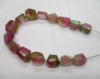 Reserve - Stunning 15 pc 9-11 mm  Beautiful Polished  Watermelon  Tourmaline Slice Beads Strands Afghanistan beads T 666