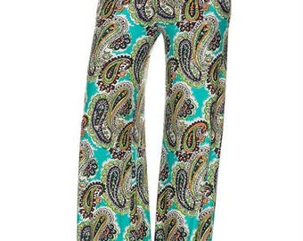 ALINE PALAZZO PANTS, Floral Printed High Waist Palazzo Pants with unfinished hem.