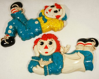 Vintage 70's RAGGEDY ANN & ANDY Wall Hanging Set