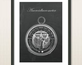 Antique Barometer, Aneroid Barometer, Wall Art, Vintage Illustration, Technical Drawing, Industrial Poster Retro, Art Home